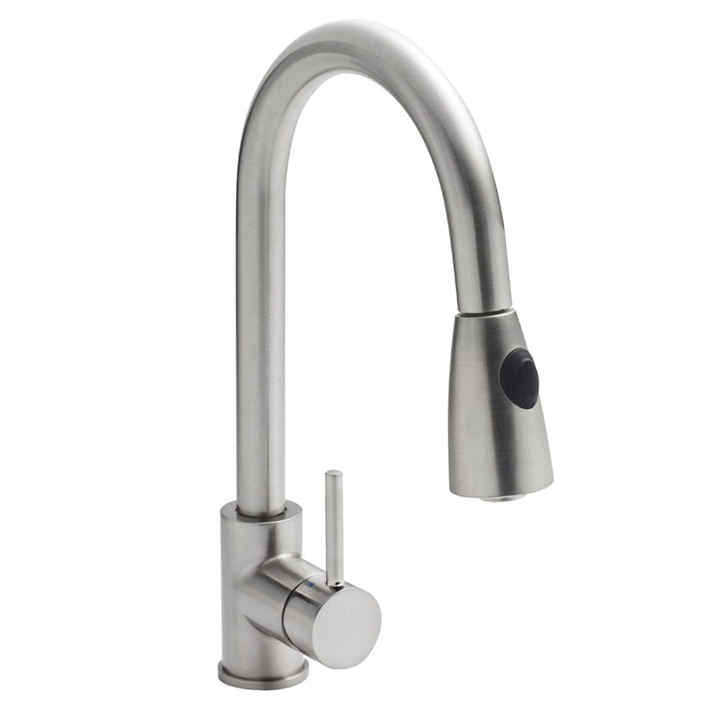 Taurus Kitchen Tap Brushed Steel • Side Mounted single lever handle ...