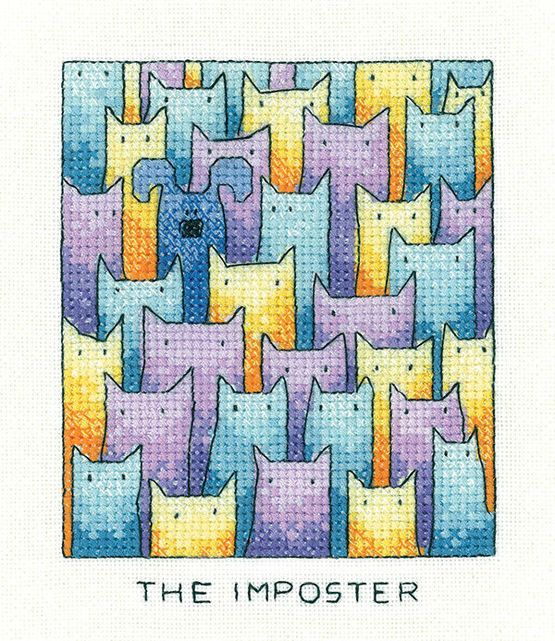 SIMPLY HERITAGE CRAFTS THE IMPOSTER CAT COUNTED CROSS STITCH KIT PETER UNDERHILL