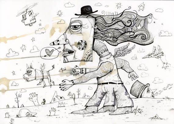 Wonderland Original Ink Drawing by JOHN by TheArtofJohnDinser, $70.00