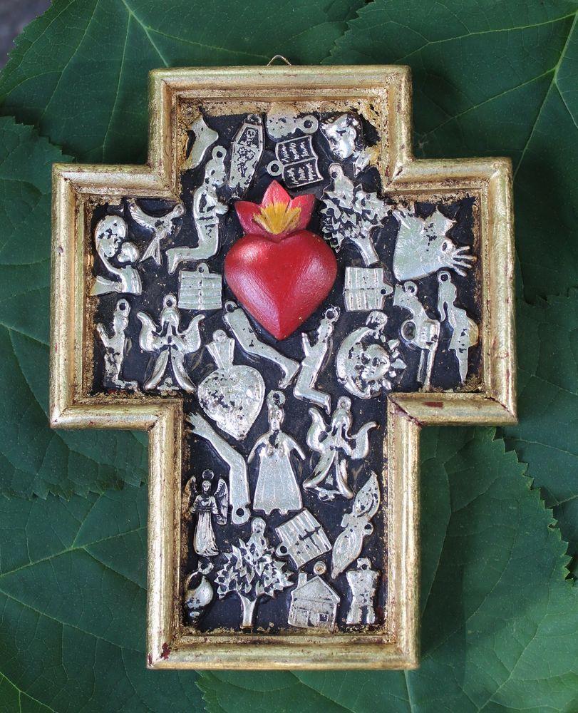Fleur de Lis Wood Milagro Cross from Michoacan