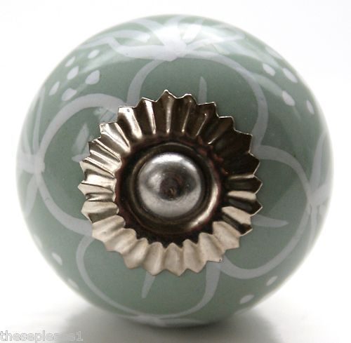 These Please Green & White Ceramic China Door Knobs Handles Drawer ...