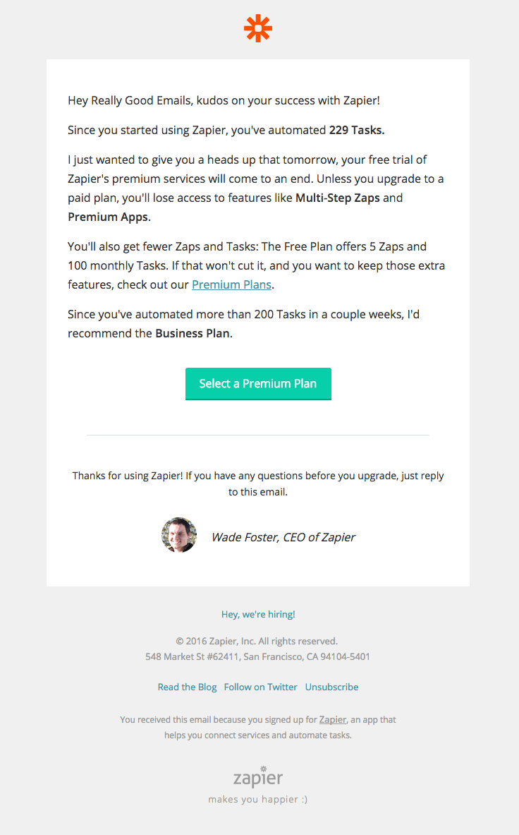 @zapier  sent this email with the subject line: Your Zapier Premium trial ends tomorrow - Read about this email and find more e-commerce emails at ReallyGoodEmails.com #ecommerce #personalized #trial #upselling