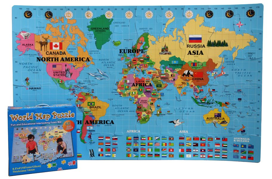 Foam World Map Kit - English/Korean | World map puzzle, Map ...