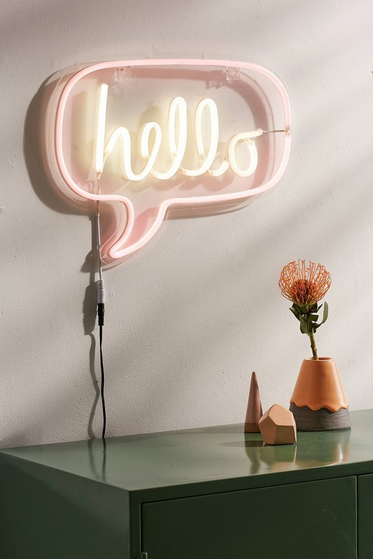 neon signs room living bedroom sign decor hello lights light wall lighting creative pink rooms cool lamps walls decorate miss