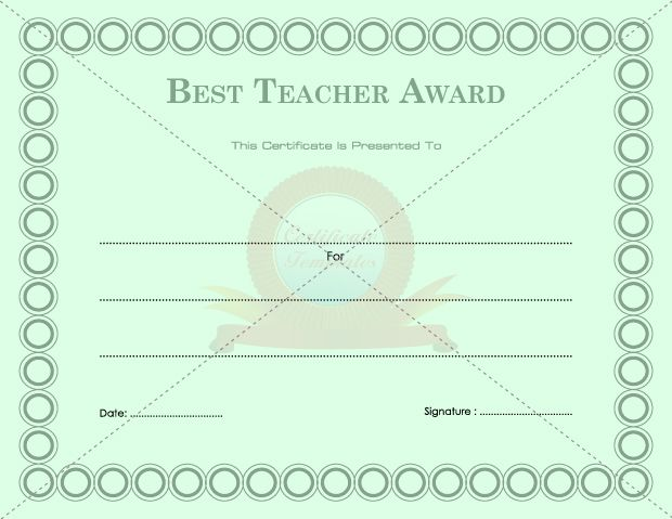 Best Teacher Award SCHOOL CERTIFICATE TEMPLATES Pinterest - army certificate of appreciation template