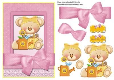 A cute girl bear in yellow with a watering can in a pink spotted bow wrap frame with lace border and decoupage pieces. A blank greeting plate is included for your own wording.