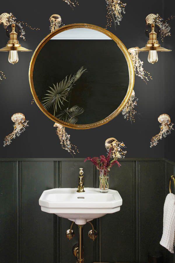 Photo of Dark Bathroom Wallpaper – Nautical Pattern Jellyfish