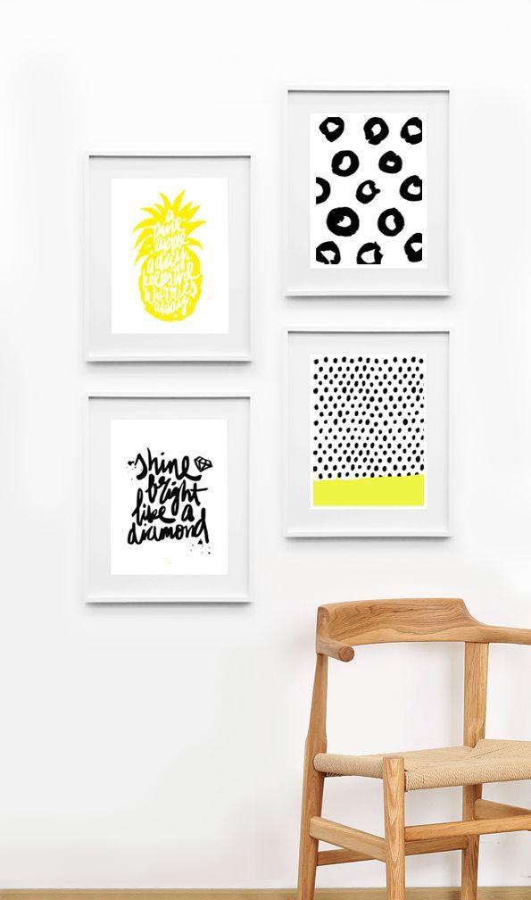 poster cadre ananas deco jaune noir serigraphie des petits mots pinterest deco tableau et. Black Bedroom Furniture Sets. Home Design Ideas