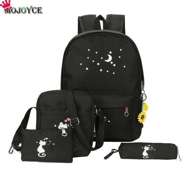 4cs set Canvas Women Backpacks Schoolbag Printing Cute Cat School Bag  Backpack For Teenager Girls Green Rucksack Moclila c0a806d0d3eaf