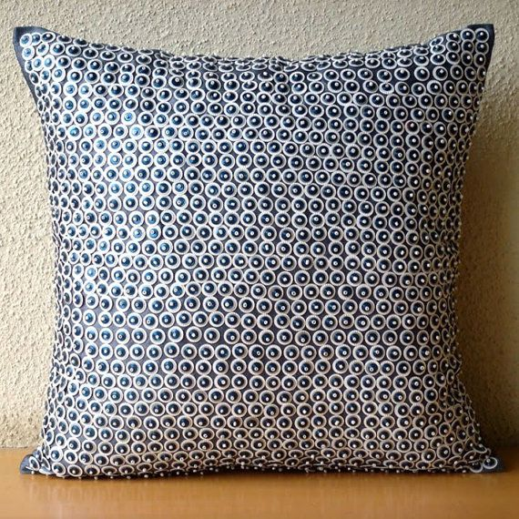 Designer Blue Throw Pillows Cover For Couch 40x40 Silk Pillows Gorgeous Decorative Bed Pillows Blue