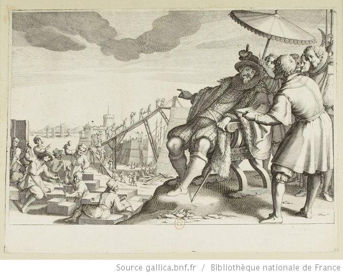 [La vie de Ferdinand Ier de Médicis]. [4], [Le Grand Duc fait fortifier le port de Livourne] : [estampe] / [Jacques Callot sculp.] ; [Matteo Roselli inv.] - 1