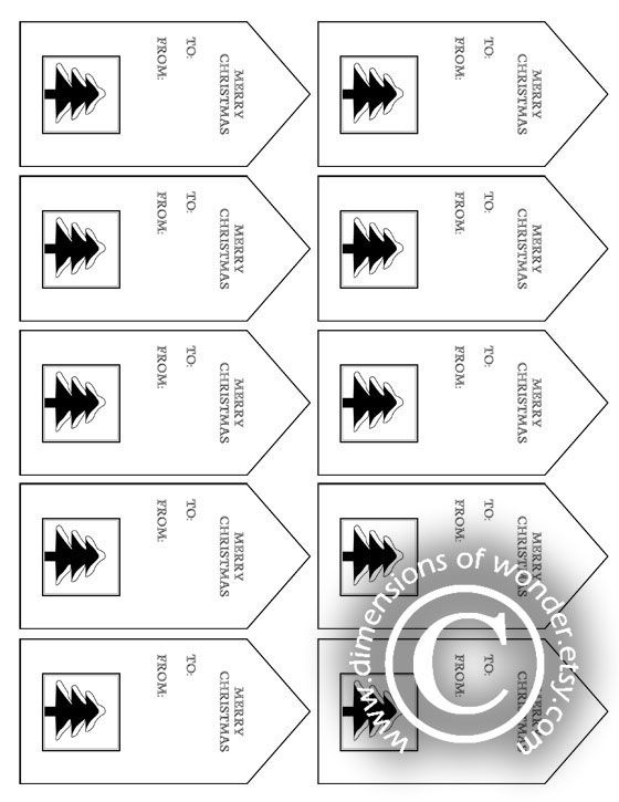 photograph relating to Printable Christmas Tags Black and White called No cost Printable Xmas Tags: Black White - Measurement of