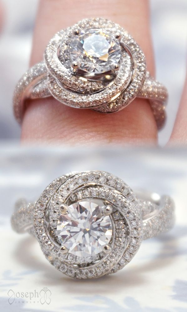 This Glamorous Twist Of Diamonds Features More Than 350 Accent Diamonds And A 1 Halo Diamond Engagement Ring Solitaire Engagement Ring Unique Engagement Rings