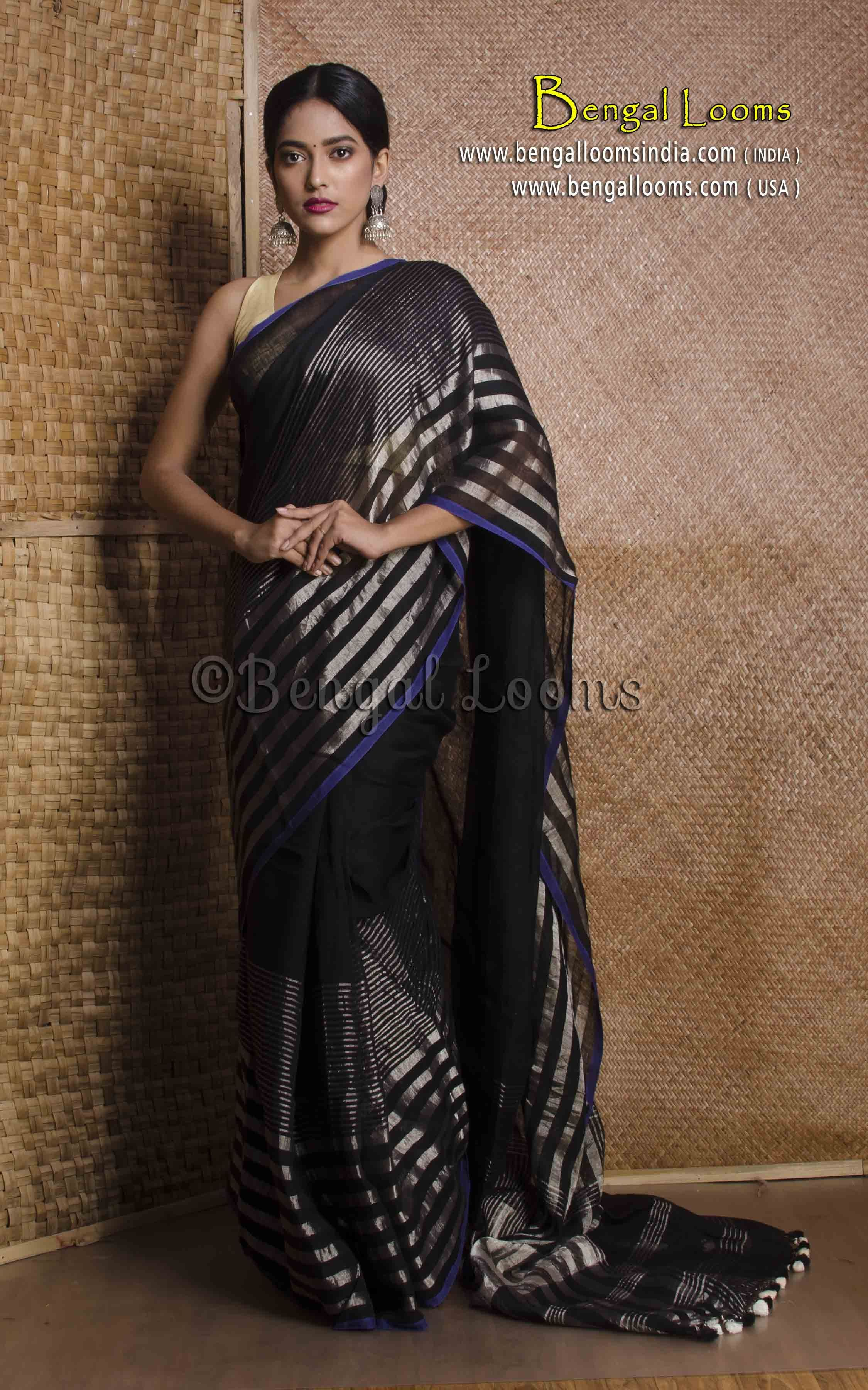 High Thread Count Linen Saree in Black and Silver Indian