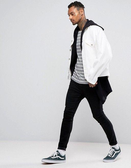 ASOS RIB STRIPE EXTREME MUSCLE LONG SLEEVE T-SHIRT WITH BOAT NECK #fashion #stylish #newtrend #shoptagr
