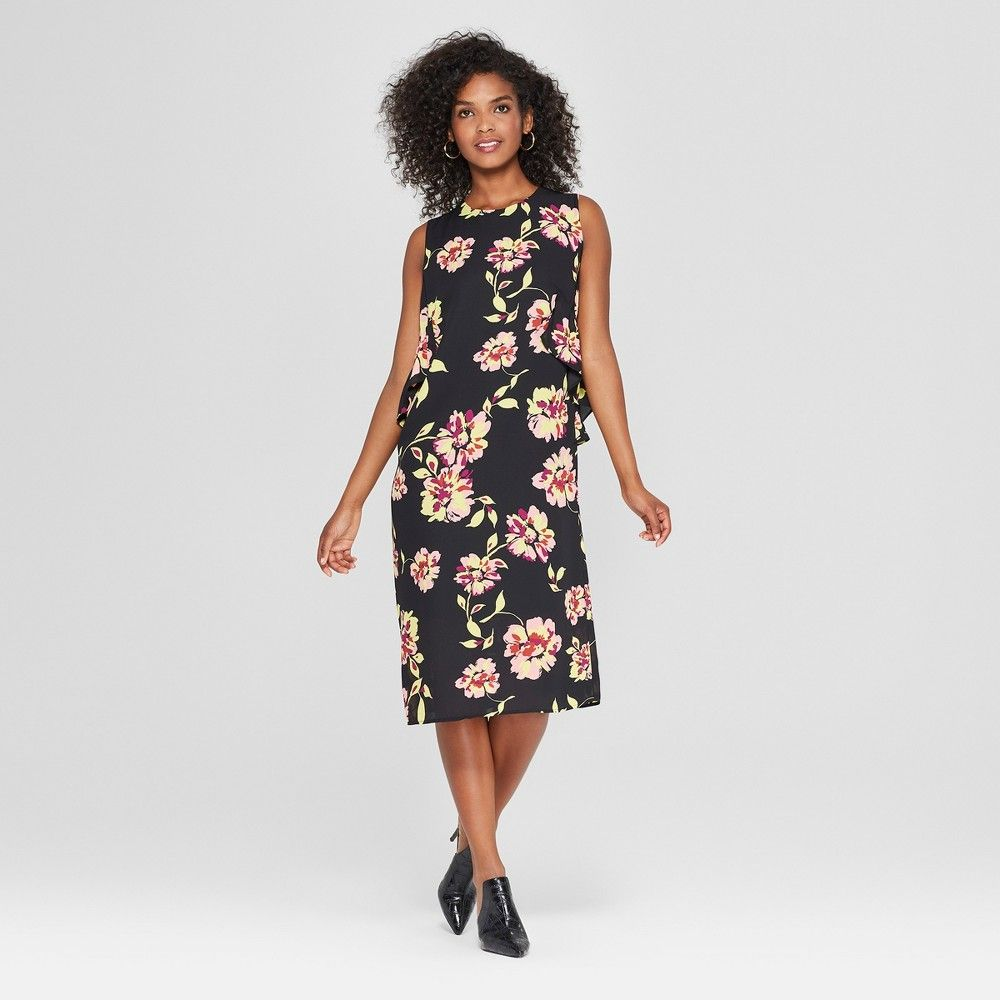 Women S Floral Print Sleeveless Ruffle Midi Dress Who What Wear Black Xs In 2021 Dark Floral Dress Ruffle Midi Dress Dresses [ 1000 x 1000 Pixel ]