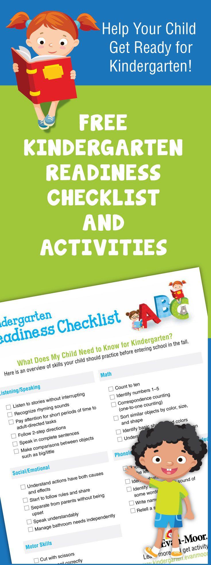 Free kindergarten readiness checklist and activities. Simple ...