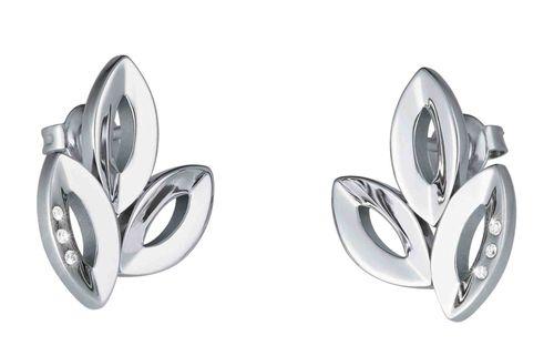 Reiner Edelstahl mit feinen Diamanten und edlen Steinen: Ohrstecker 17 mm 6 Brill. TW/si 0,03 ct. 411898G0