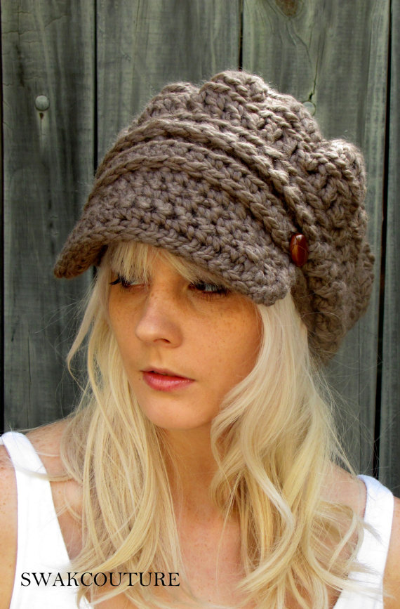 Newsboy Slouchy Hat Crochet Beanie Hat Two Leather Button Band ...