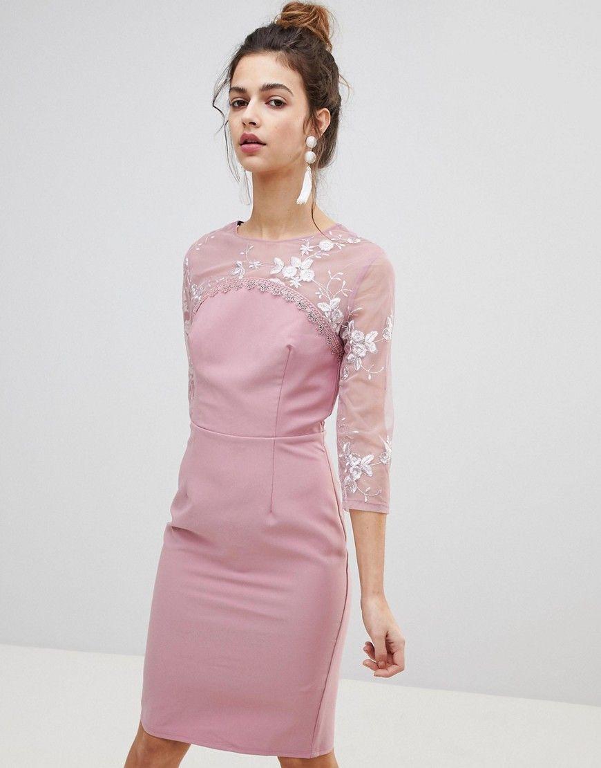 Little Mistress - Figurbetontes Kleid mit Stickerei - Rosa Jetzt ...