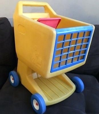 little tikes shopping cart yellow red vintage little toy shopping