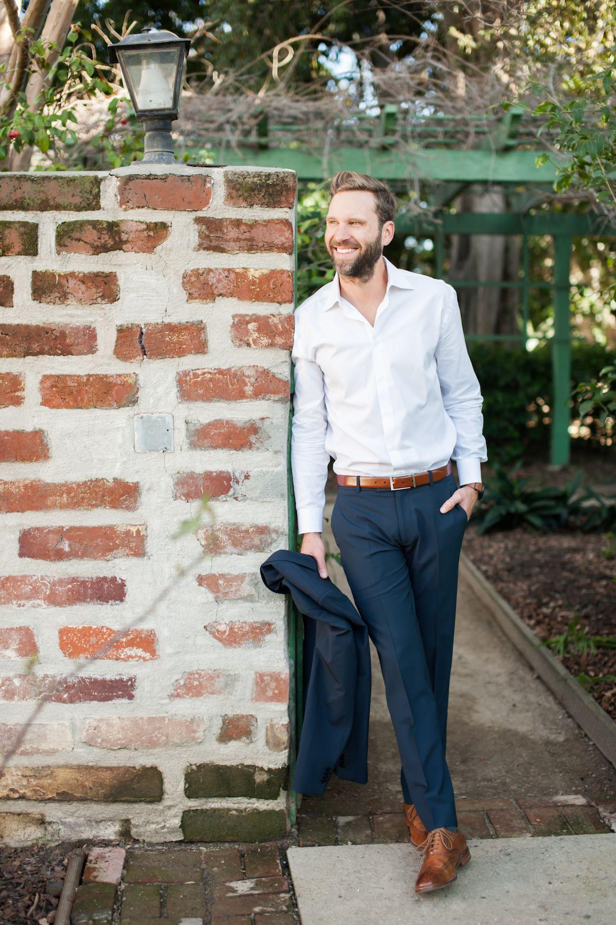 handsome groom in navy suit + brown shoes + belt | groom ...