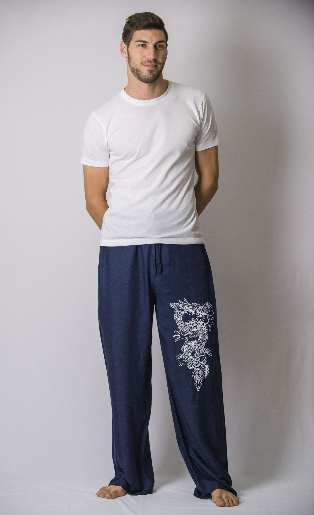 The Dragon Men s Thai Yoga Pants in Navy Ropa De Caballero 56ca1569f2f6