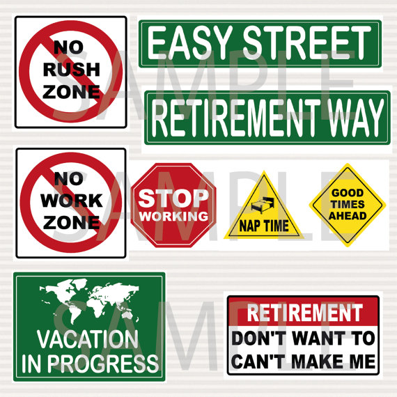 Retirement Party Printable Signs Kit Road Signs by SurpriseINC