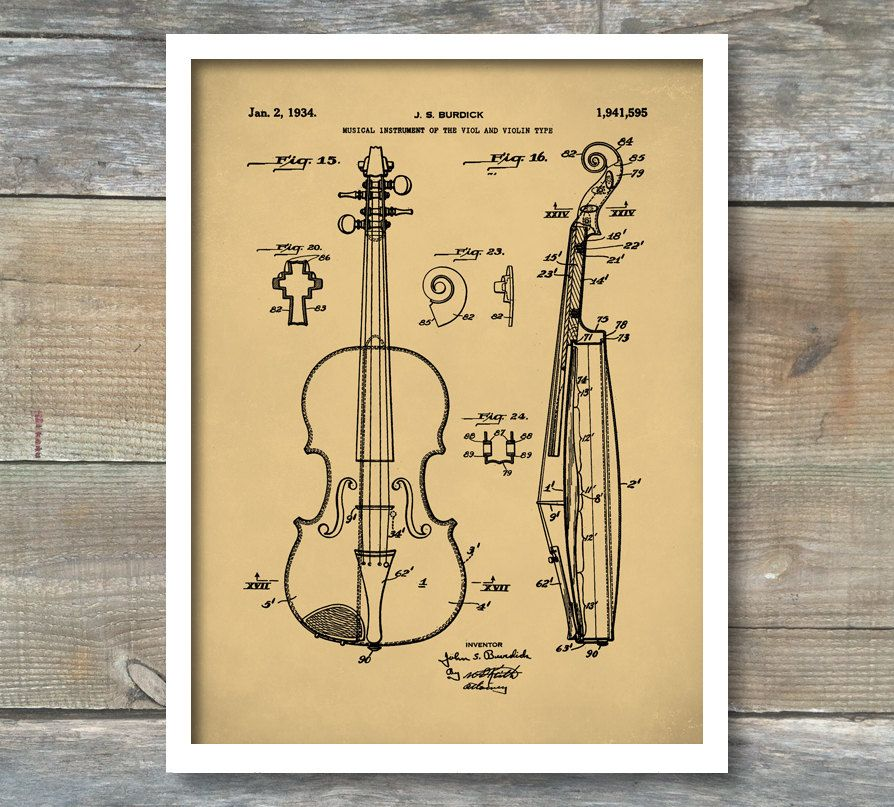 Viola Patent, Patent Print, Wall Decor, Music Poster, Music Art ...