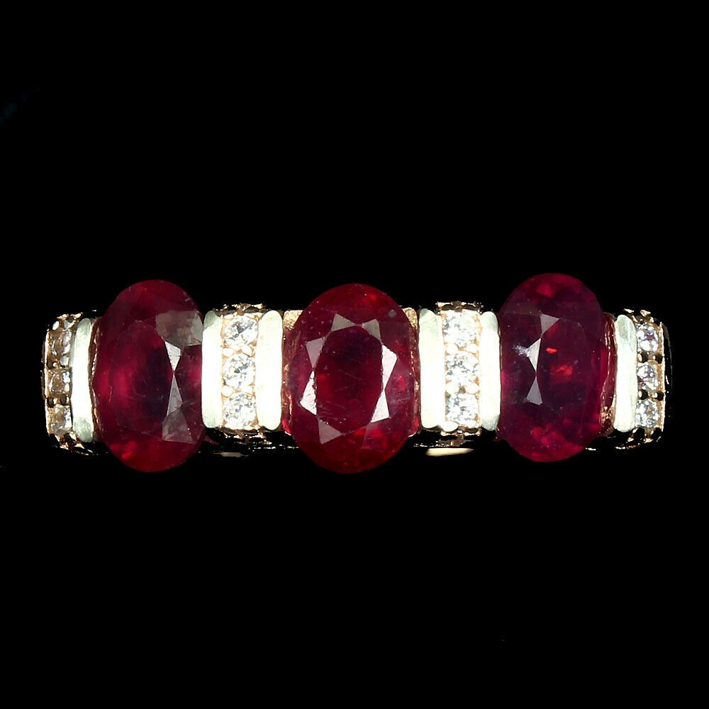Oval Red Ruby 7x5mm 14K Rose Gold Plate 925 Sterling Silver Ring