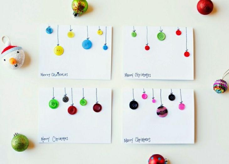 tarjetas de navidad originales diy decoracion botones ideas