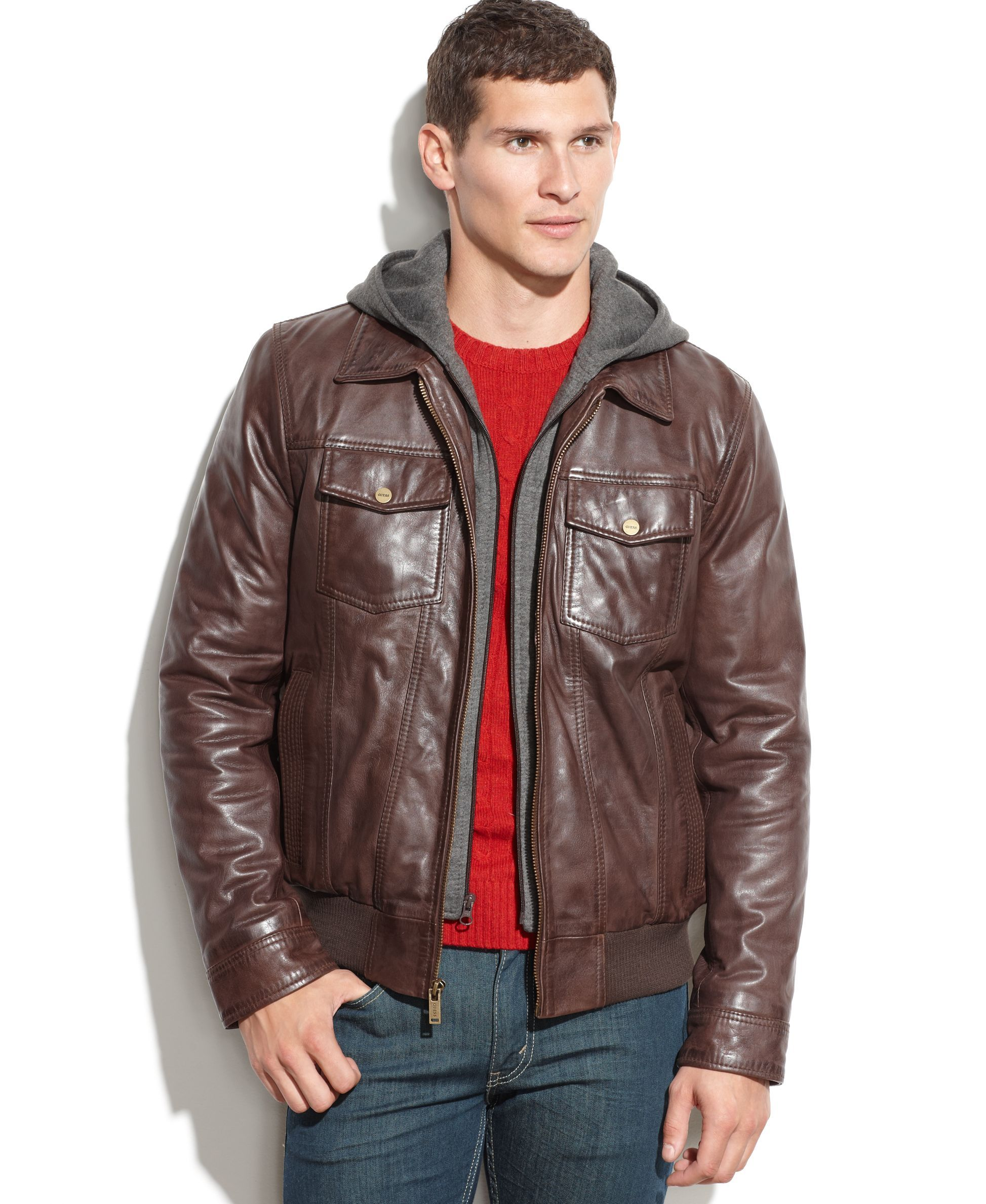 Guess Leather Jacket With Knit Hood Leather Jacket Men Brown Leather Bomber Jacket Leather Jackets Women [ 2378 x 1947 Pixel ]