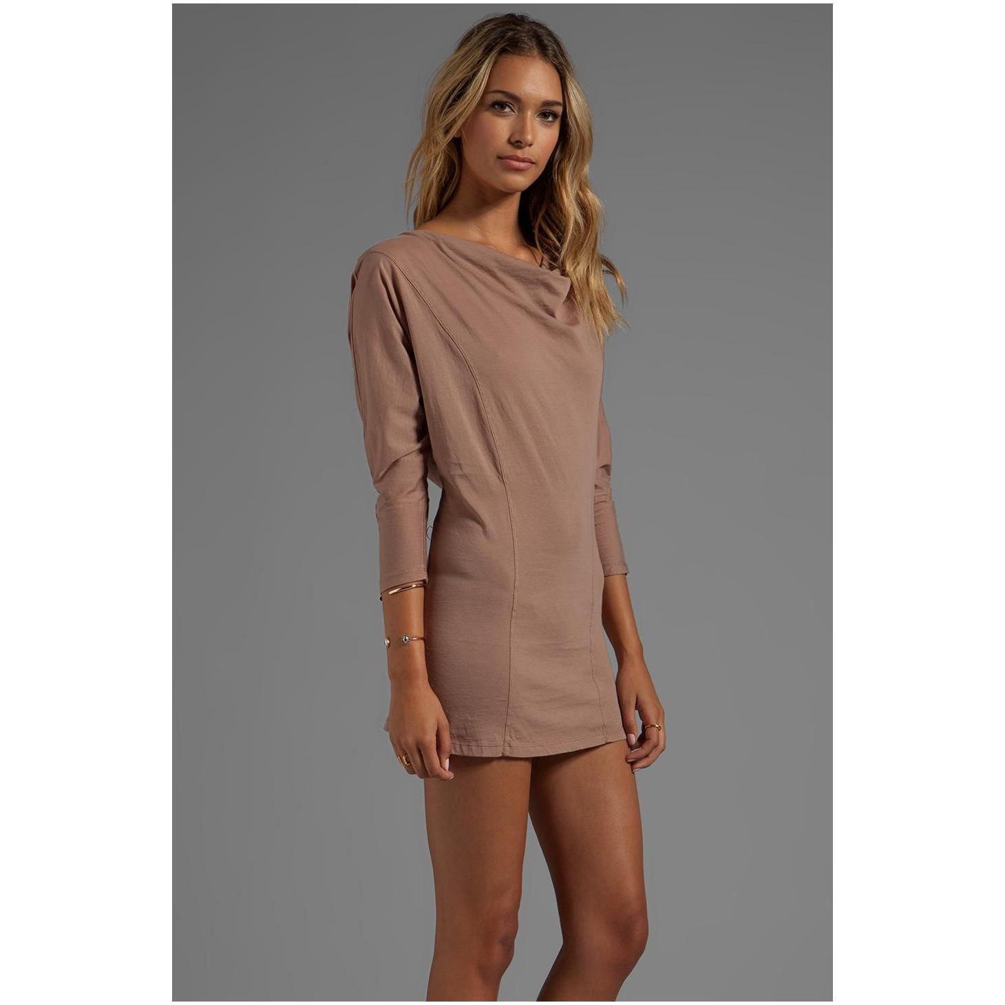 Bobi Supreme Jersey Long Sleeve Knot Mini Dress in Black | REVOLVE ...
