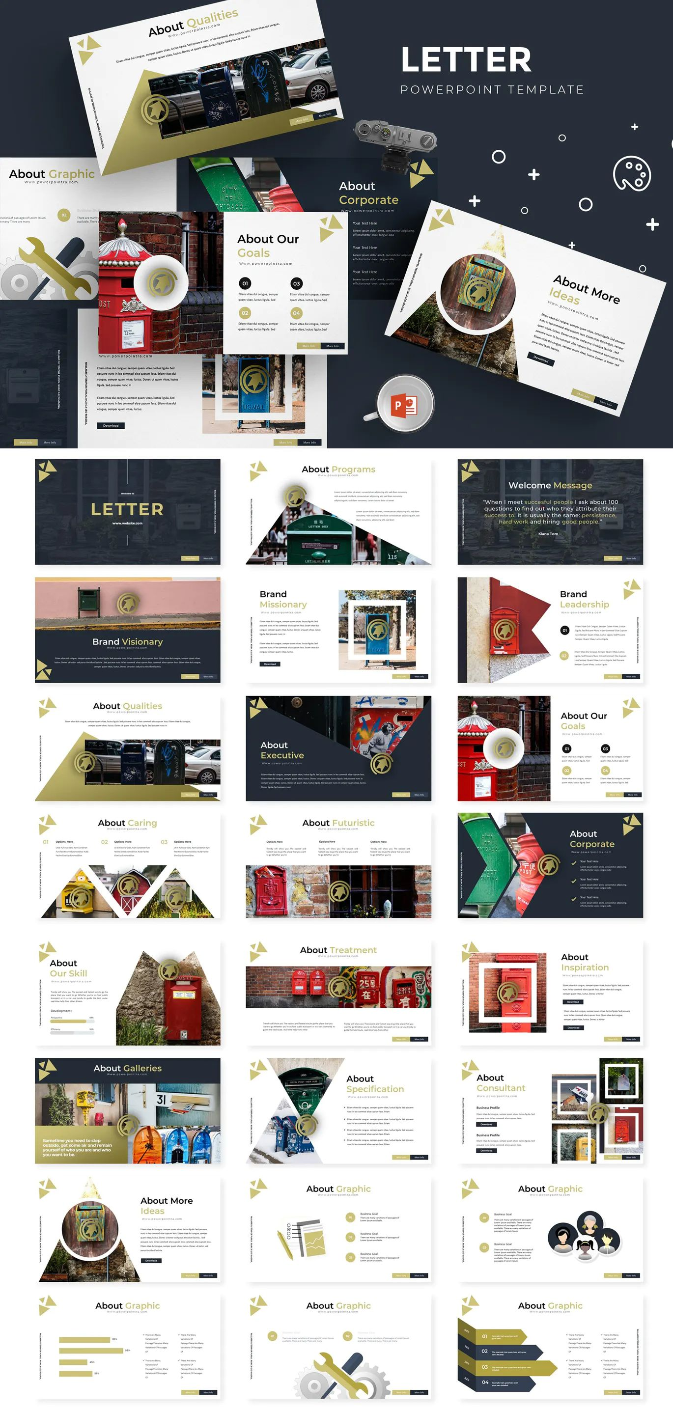 Letter Powerpoint Template by aqrstudio on Powerpoint