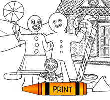 Gingerbread Family Coloring Page