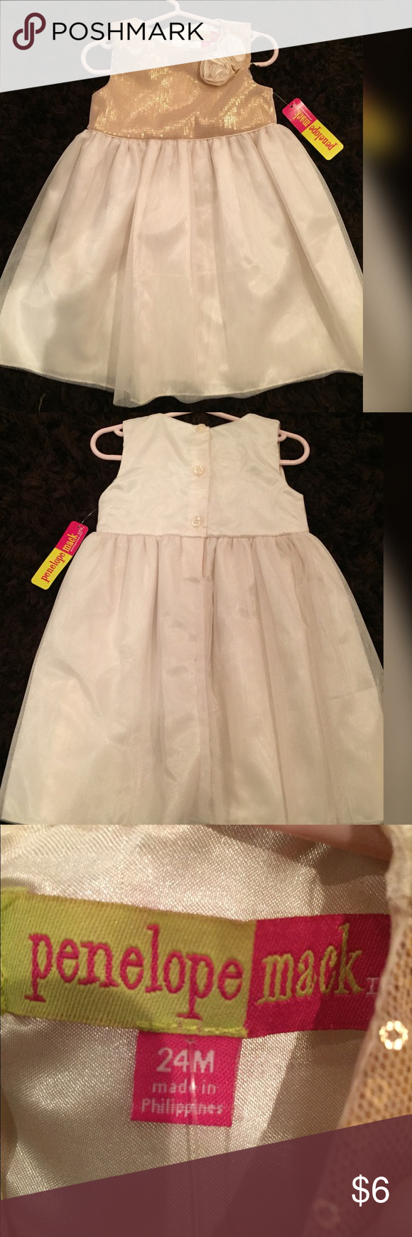 Pink and gold dress for kids  Penelope Mack  month gold dress NBW  month size gold and white