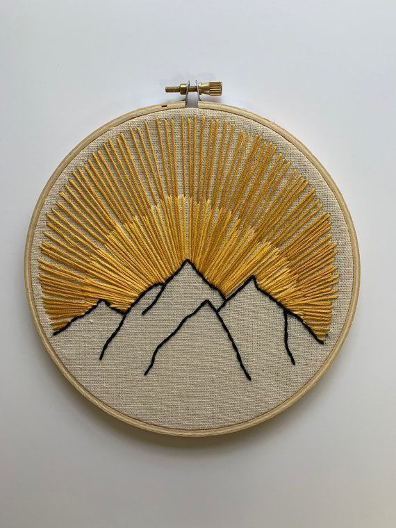 This is a handmade mountain embroidery. This embroidery is made to order. - #Embroidery #handmade #mountain #Order