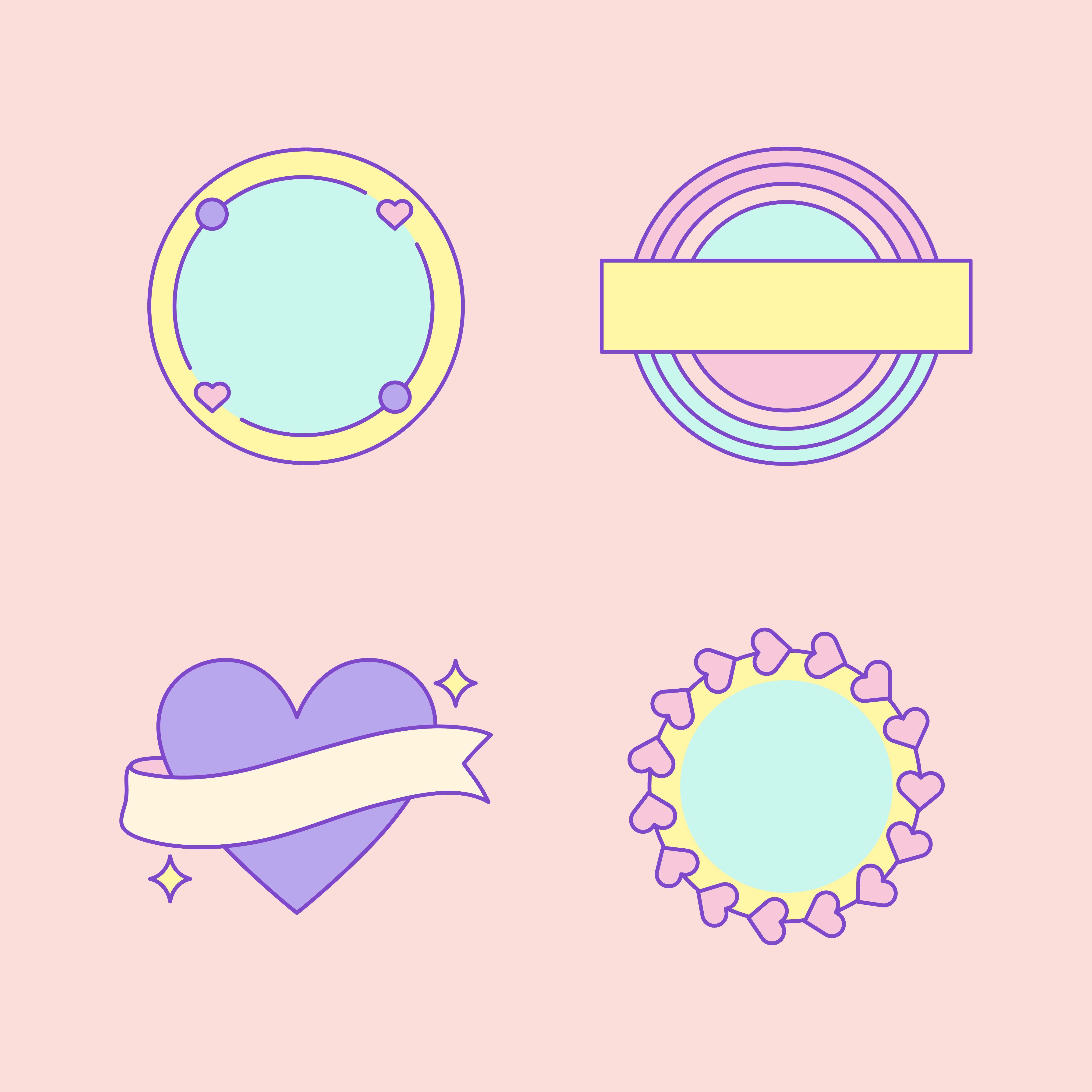 Set of cute and girly badge vectors กราฟิกดีไซน์ญี่ปุ่น