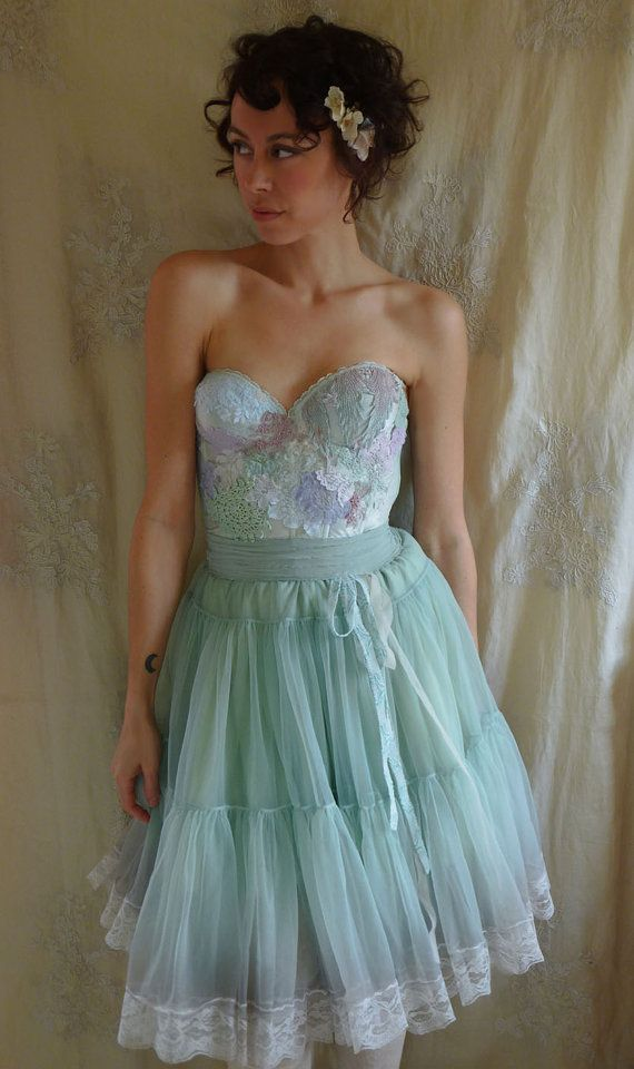 Folklore Fairy Bustier Dress... whimsical corset gown bridesmaid ...