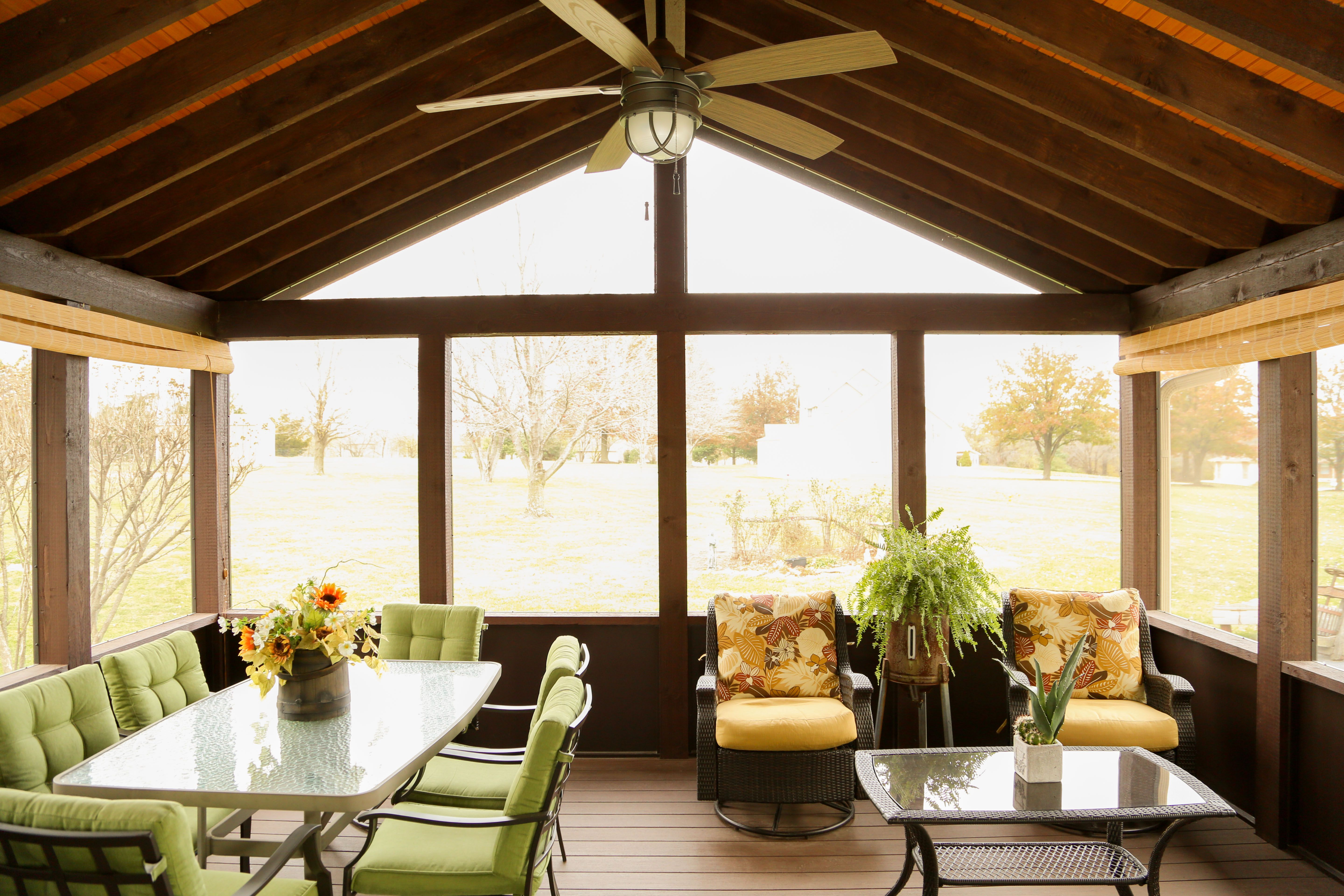 Cedar Screened In Porch Pine Car Siding Ceiling Stained