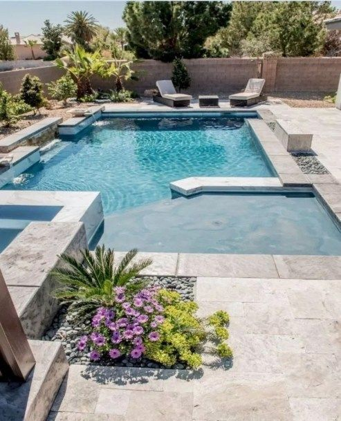 Inexpensive Pool Design Ideas For Your Home 05 Backyard Pool Landscaping Backyard Pool Designs Swimming Pools Backyard