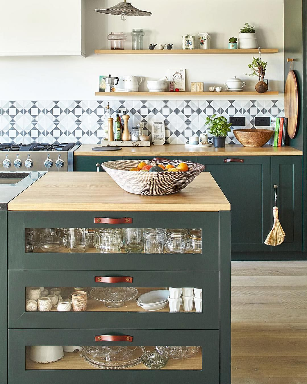 Dark Green Kitchen Units And Island With Monochrome Tiles And Open Shelving Something I Wish I D Don Dark Green Kitchen Green Kitchen Cabinets Kitchen Remodel