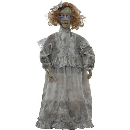 Cracked Victorian Doll Prop Halloween Decoration, Multicolor