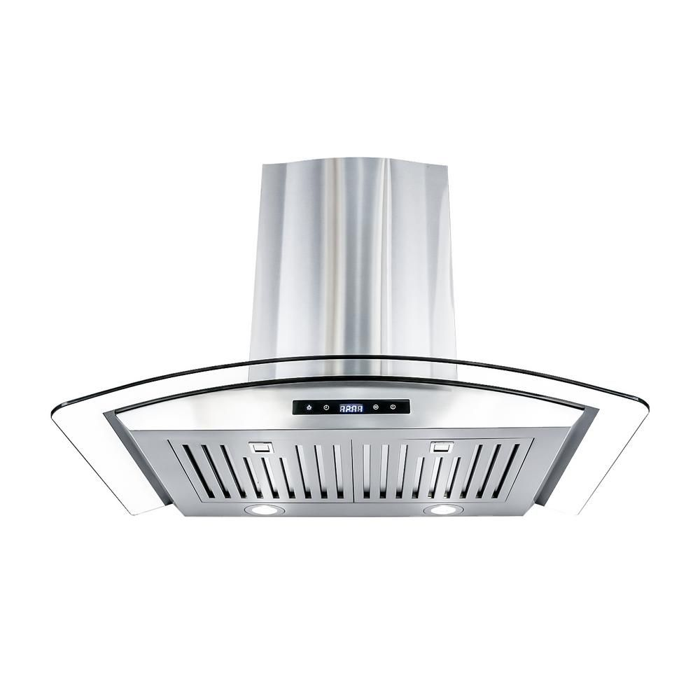 Cosmo 30 In Ducted Wall Mount Range Hood In Stainless Steel With Touch Controls Led Lighting And Permanent Filters Cos 668as750 The Home Depot In 2020 Wall Mount Range Hood Range Hood