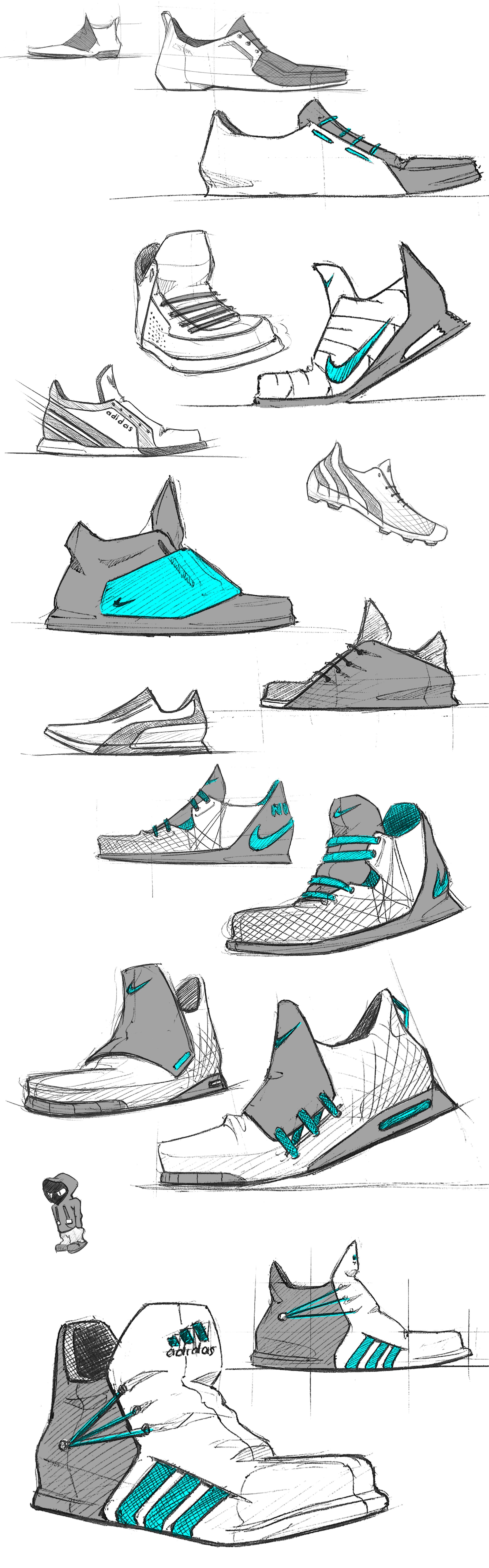 Shoes sketches by Julien FESQUET / ISD Desenhos de