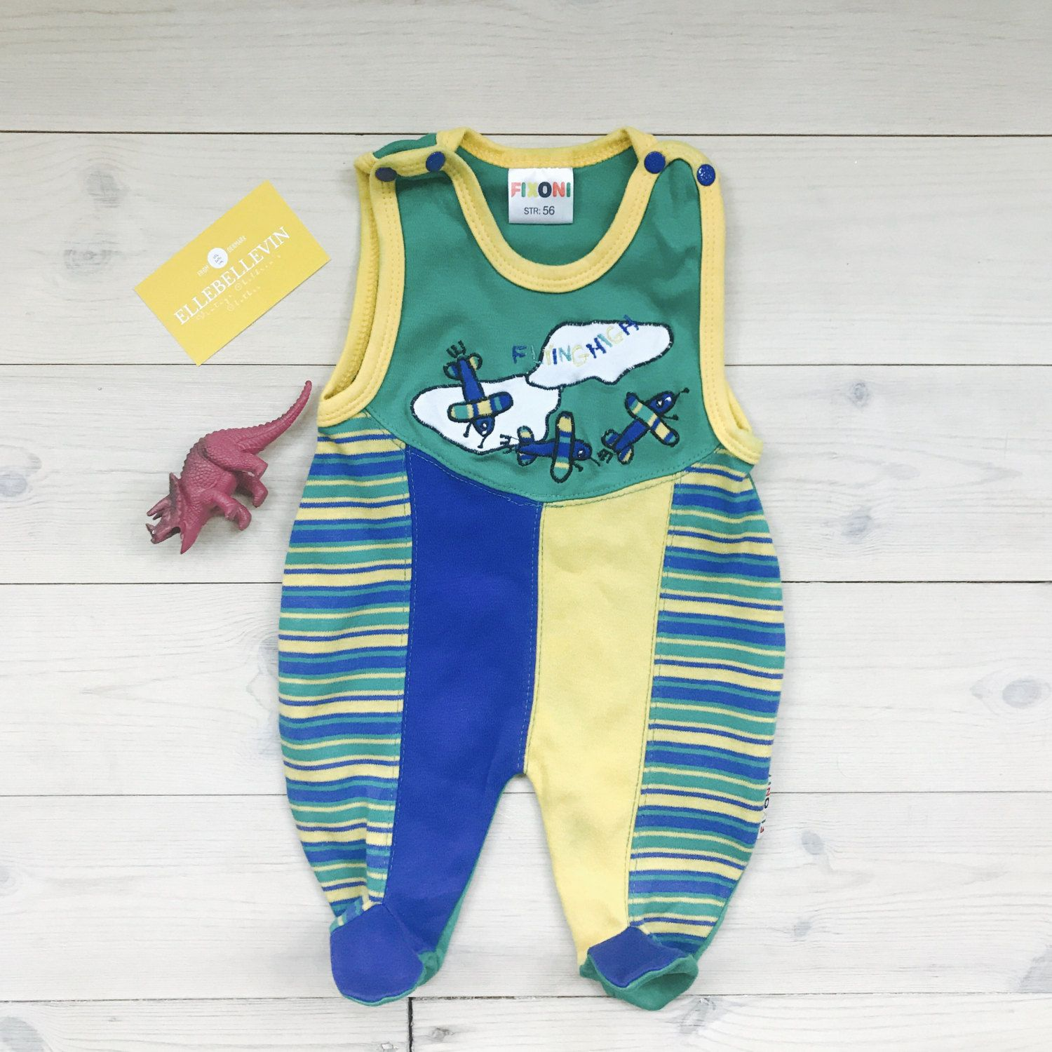 Baby Boy Romper 0 3 months Green Vintage Newborn Footie with