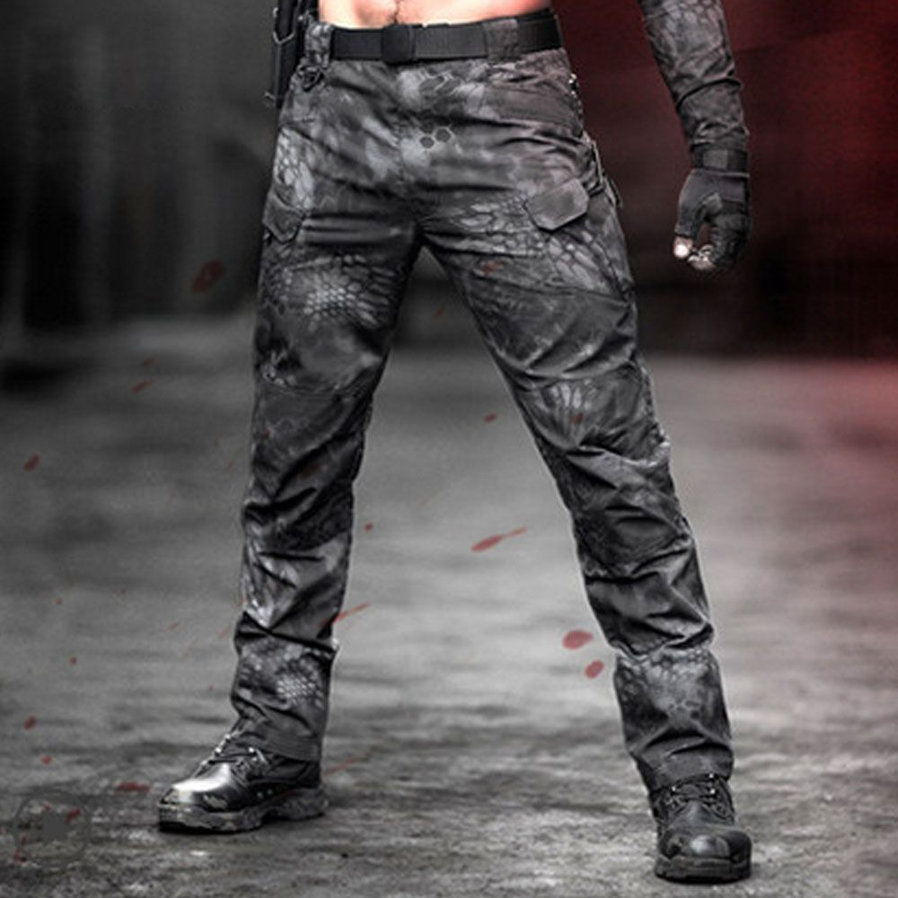 Mens Outdoor Camouflage Tactical Pants Ripstop Multi-pockets Military Cargo Pants Hunting Hiking Pants