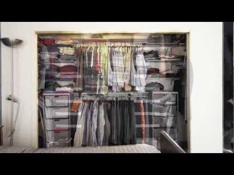 Http Californiaclosets Com Watch Clif S Reach In Closet Transform From A Frustrating Impractical Custom Closet Design California Closets Closet Makeover