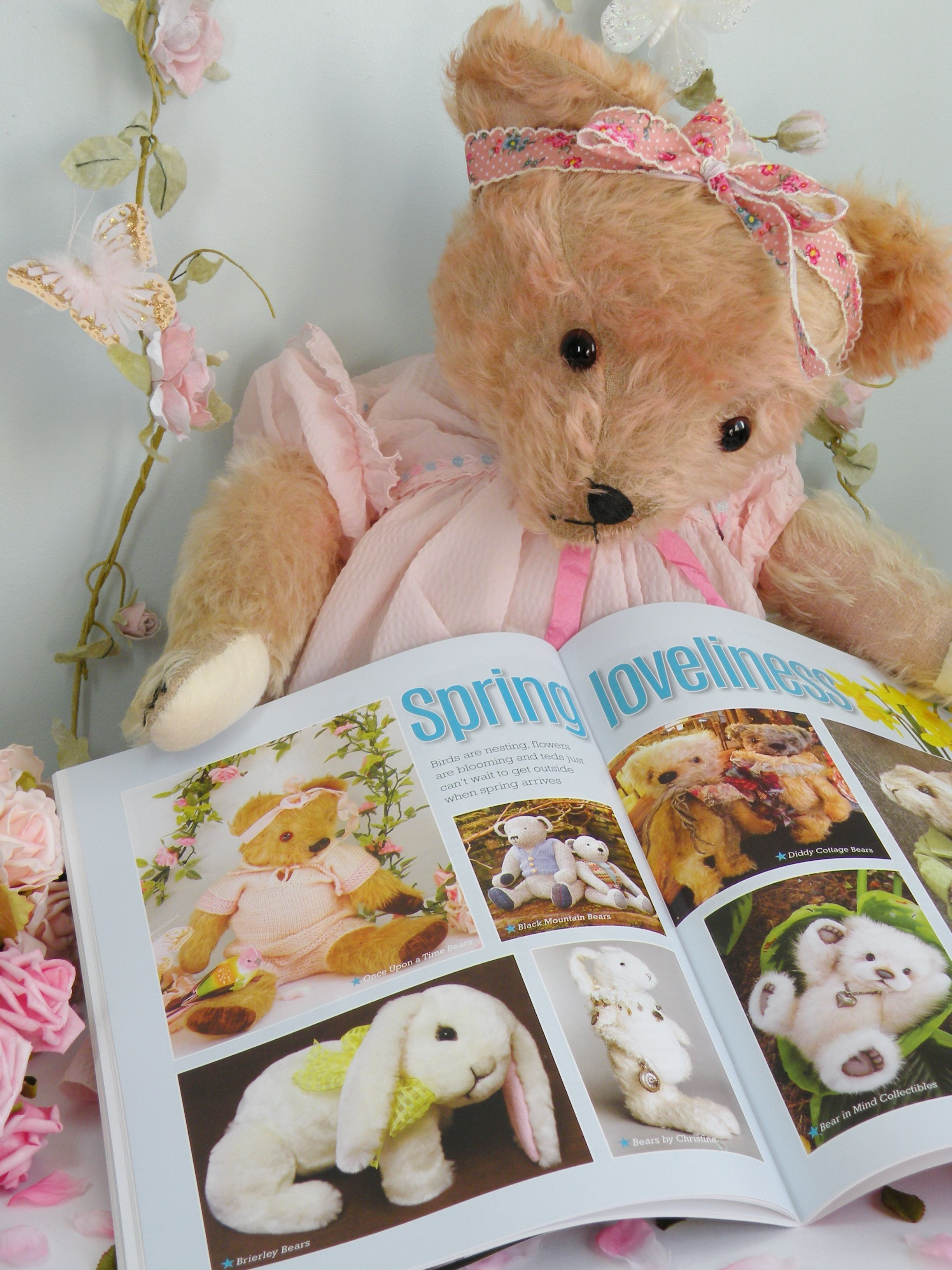 Miss Marshmellow proudly finding Peaches (a Chad Valley bear c1950 )top left photo in the Spring issue of the Teddy bear times www.onceuponatimebears.co.uk