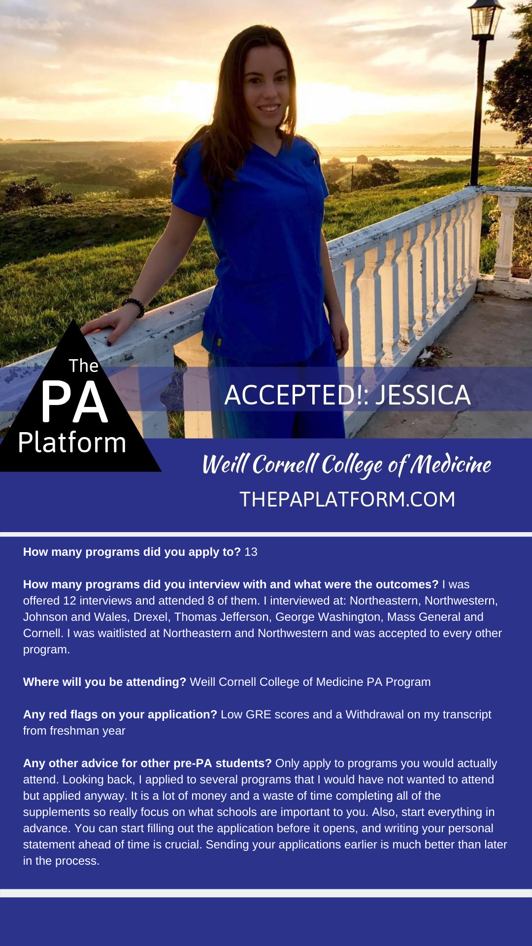 Accepted Jessica Weill Cornell College Of Medicine The Pa Platform Cornell College Physician Assistant Programs College